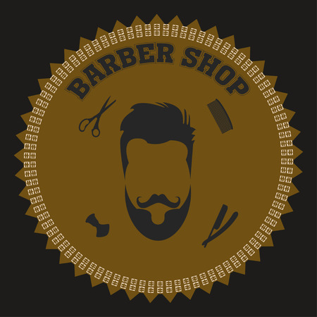 sha: collection of barber shop hair saloon - design elements emblem badge Including blade comb scissors and sha