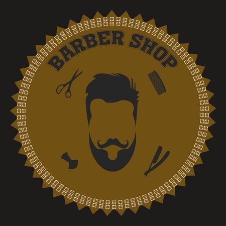 sha: collection of barber shop hair saloon - design elements emblem badge Including blade comb scissors and sha