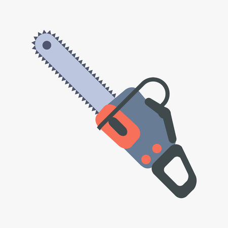 Chainsaw icon in flat style isolated Saw symbol vector illustration Illustration