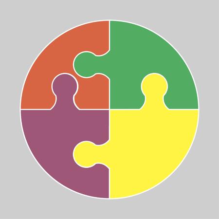Circular colorful puzzle icon vector logo illustration Illustration