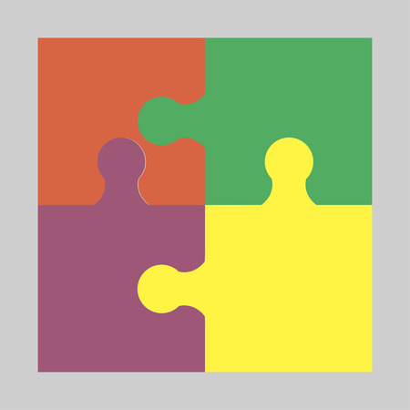 Four colorful puzzle - vector icon Illustration