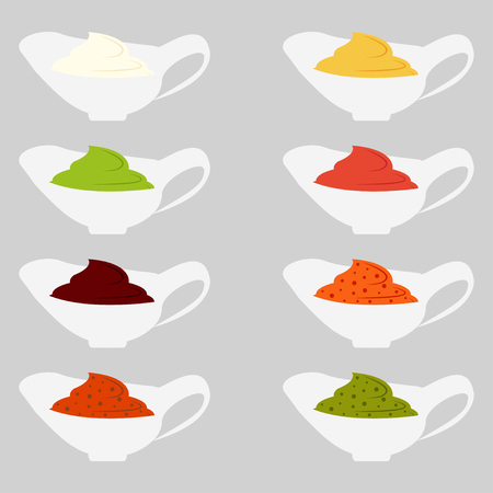 chutney: Color set icons depicting of different sauce vector illustration