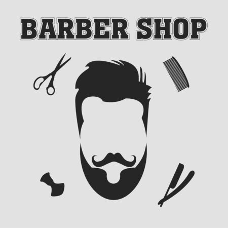 hair saloon: collection of barber shop hair saloon - design elements emblem badge Including blade comb scissors