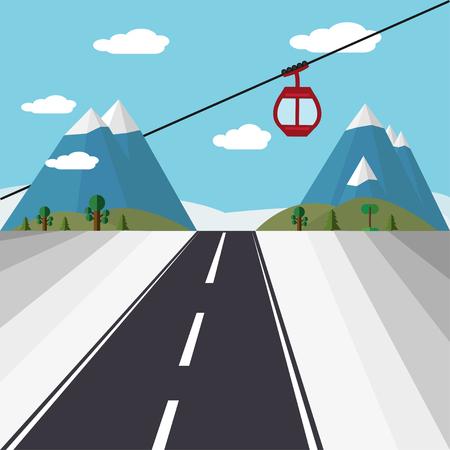 Ski Lift Gondola Snow Mountains, Forest road -  Illustration