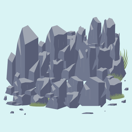 flagstone: Rock stone icon.  Set of Rocks and different stone boulders Illustration