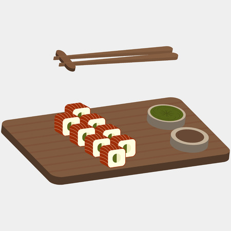 Sushi and rolls with red fish on the wooden boards Illustration