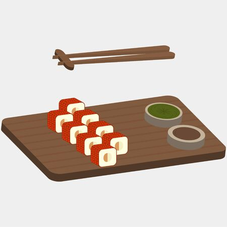 nori: Sushi and rolls with red fish caviar on the wooden boards