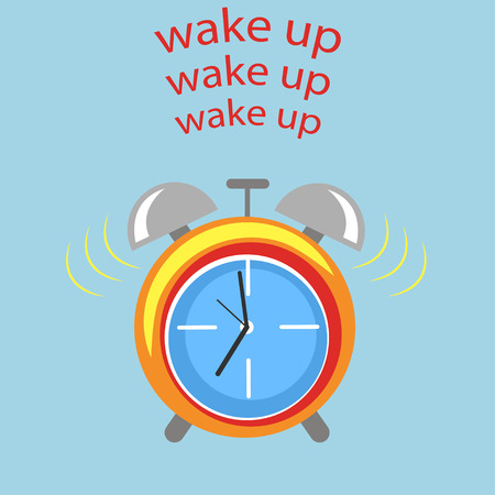 Wake up alarm clock illustration