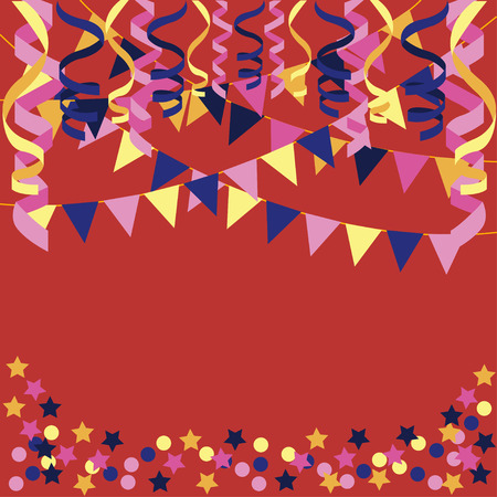 background with confetti, paper streamers and triangular party flags