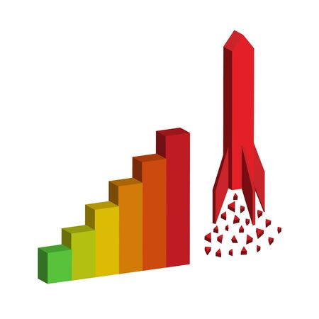 money cosmos: bar graph with rocket Illustration
