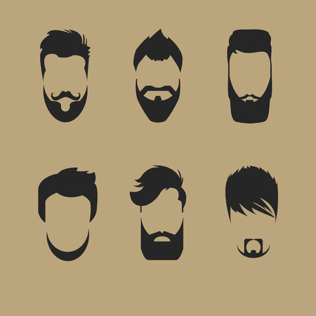 sideburn: set of different men hipster haircuts, beard, mustache icons flat