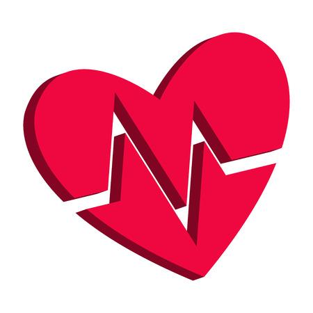 Blood pressure heart cardiogram health healthy pulse symbol medical pulsometer element heartbeat label hospital concept design Illustration