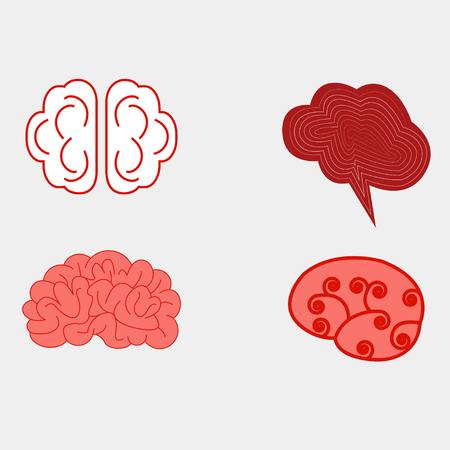 Human brain views set -icons.
