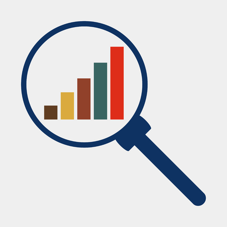 Business analysis magnifying glass icon