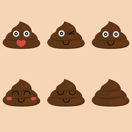 filth: set of cut poop emoticon smileys isolated - vector