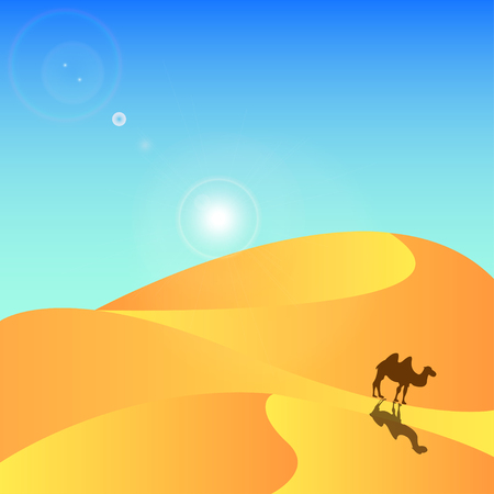 yellow adventure: desert background with camel and sun - vector Illustration