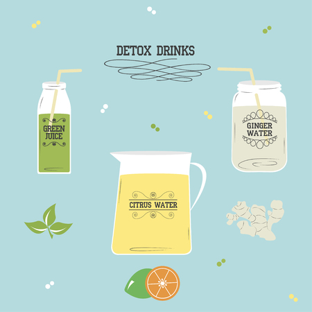 detox: Detox drinks: ginger water, citrus water, green juice