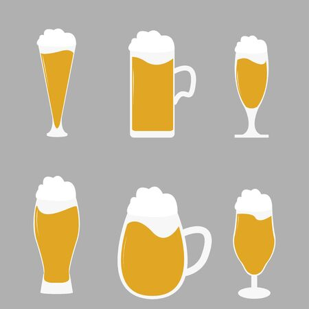 Different types of beer glasses with beer spilling - vector