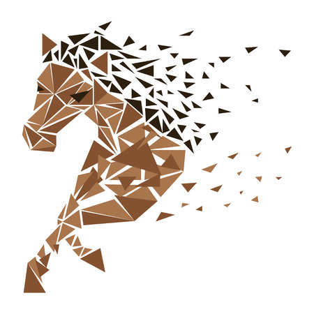 Horse particles icon design. Galloping brown horse particles - illustration