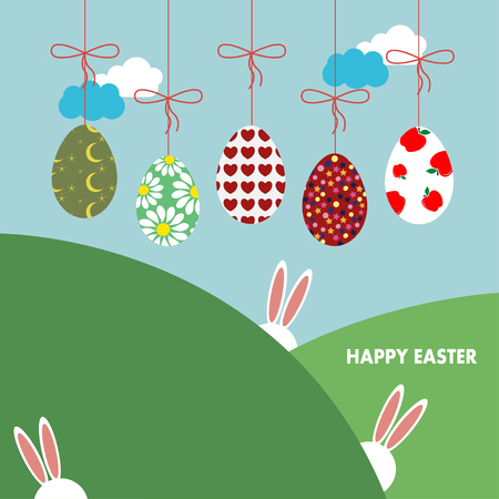 Vector illustration of Easter bunny ears card. Background with hanging eggs, rabbits and landscape
