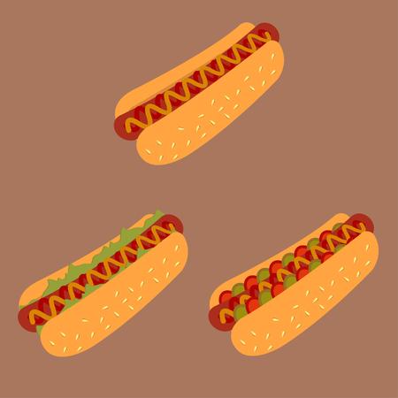 Hot Dog Cartoon Illustration. hotdog with mustard. Hot dog icon. Classic american fast food set