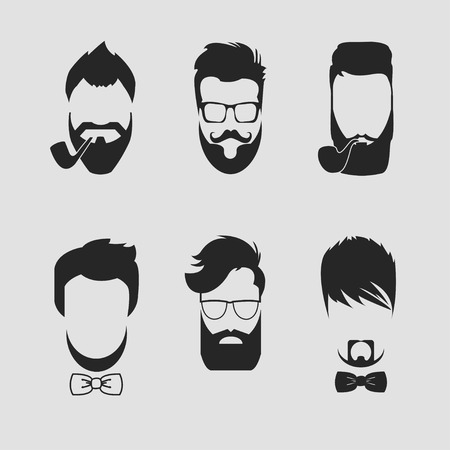 sideburn: set of different men hipster haircuts, beard, mustache icons flat - Vector