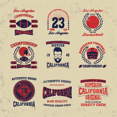 man head: los angeles typography fashion set vintage, t-shirt graphics - vector