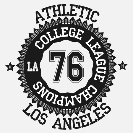 T-shirt graphic design Los Angeles, Emblem California State  Typography - vector illustration