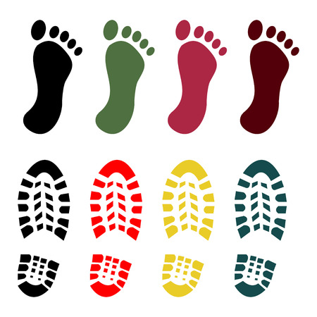 Shoe and foot print set - vector