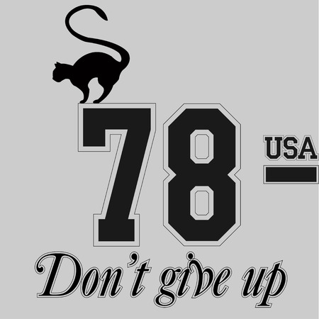 Don't give up cat. Inspirational and motivational style illustration