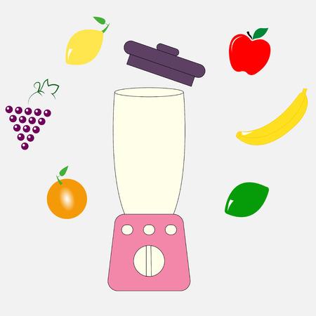 Food processor, mixer, blender and fruits - vector Illustration