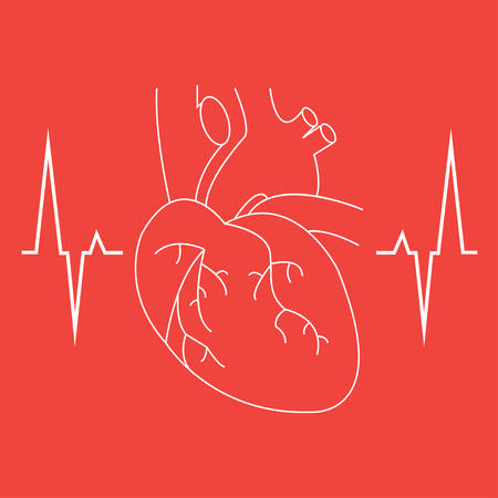 The heart and cardiogram icon. Heart and cardiogram symbol. Vector illustration Illustration