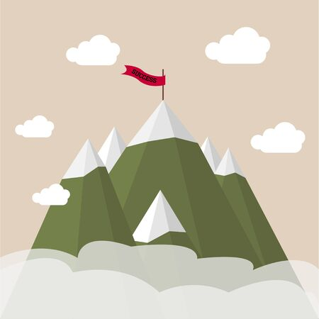 oncept: Landscape with flag on the mountain. illustration. ?oncept with copy space of flag on the mountain peak, meaning overcoming difficulties with focus on results