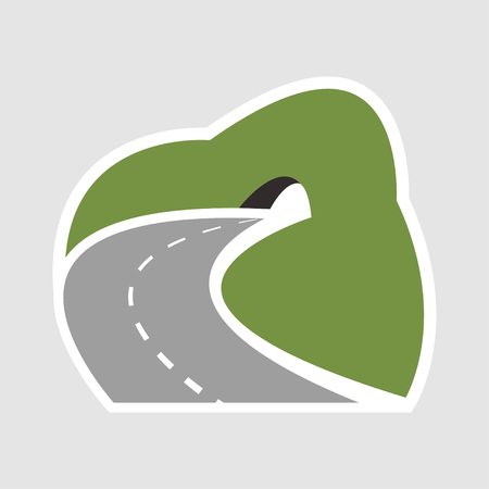 Winding mountain highway leading to a road tunnel icon, transportation design - vector