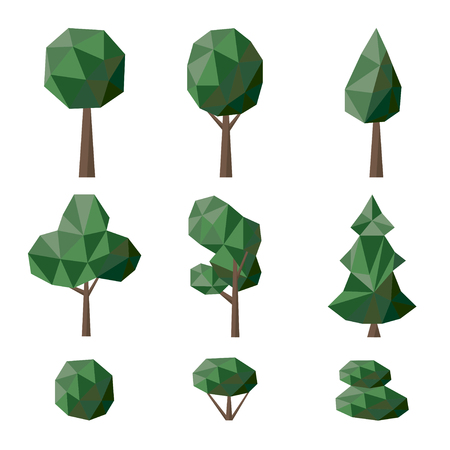 bushes: Set polygonal deciduous and coniferous trees and bushes