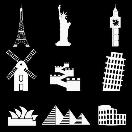 famous places: set of icon famous places