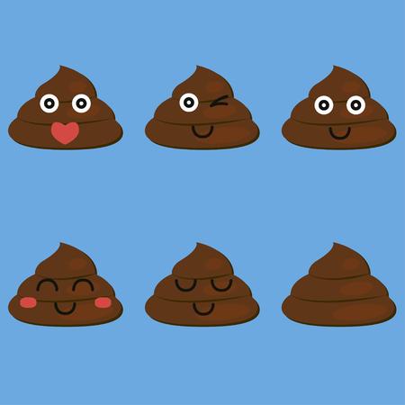 feces: set of cut poop Illustration