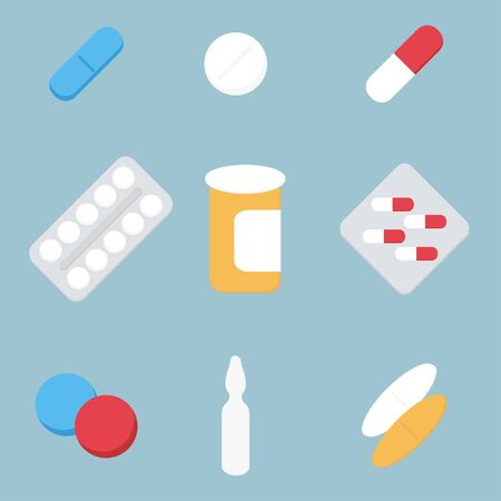 prescription bottles: Medical treatment pills Illustration