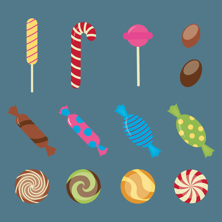 Sweet candies flat icons set - vector
