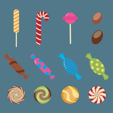sweetstuff: Sweet candies flat icons set - vector