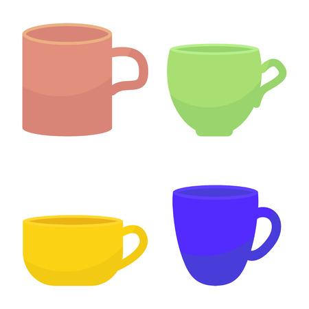 Artistic tee and coffee mug. Illustration