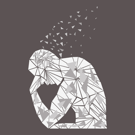 Thinking man silhouette vector