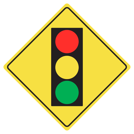 danger ahead: Traffic light sign flat design vector Illustration