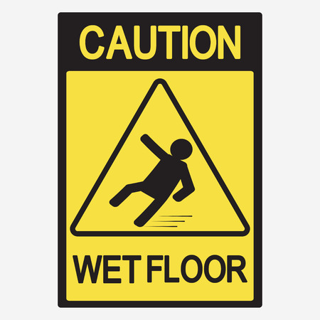 slick: Caution wet floor, beware of slippery - vector