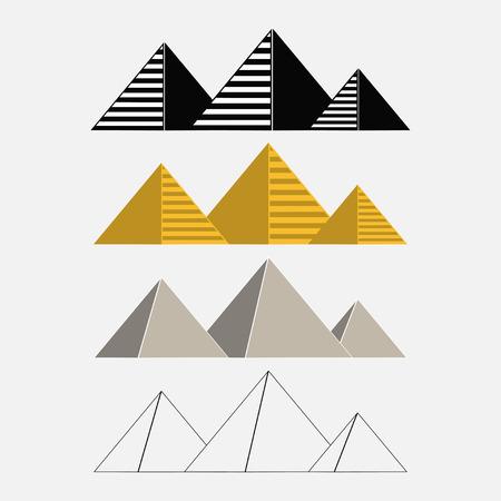 esfinge: Set of Egypt pyramids Giza egyptian landscape traveling - vector