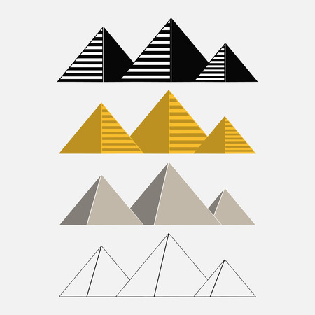 Set of Egypt pyramids Giza egyptian landscape traveling - vector