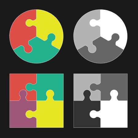 Circular colorful puzzle icon vector logo illustration set