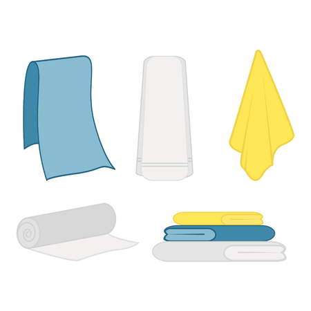 Set of clean towel on a hanger icon, flat design vector.