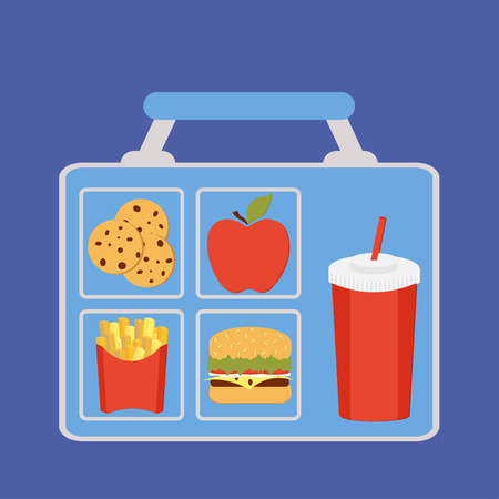 Lunchbox with apple, burger, cookies, french fries and soft drink