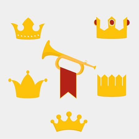 Royal gold crown vector illustration.